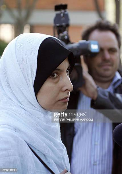 Tayssir Alluni's wife Fatima Ahmed arrives at Madrid's High court for the Europe's biggest trial against suspected members of the Al-Qaeda network at...
