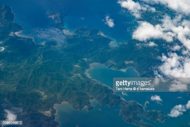 Taytay in Palawan Island in Province of Palawan in Philippines daytime aerial view from airplane daytime aerial view from airplane