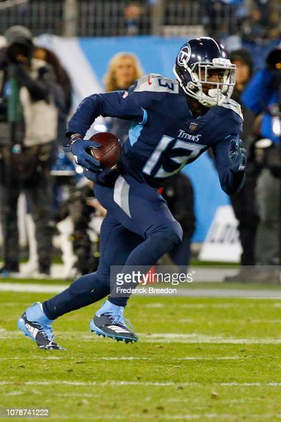 Taywan Taylor of the Tennessee Titans plays against the Jacksonville Jaguars at Nissan Stadium on December 6 2018 in Nashville Tennessee