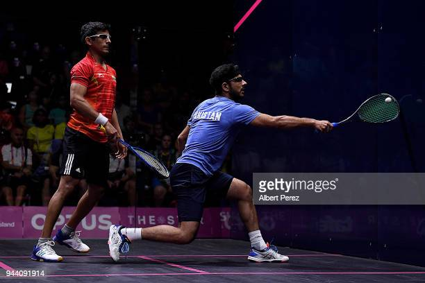 Tayyab Aslam of Pakistan competes in the Mixed Doubles Group E match between India and Pakistan during Squash on day six of the Gold Coast 2018...