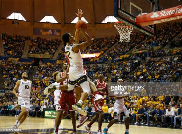 Taz Sherman of the West Virginia Mountaineers pulls up for a shot against the Oklahoma Sooners at the WVU Coliseum on February 29 2020 in Morgantown...