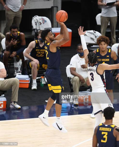 Taz Sherman of the West Virginia Mountaineers shoots the ball against the Gonzaga Bulldogs during the Jimmy V Classic at Bankers Life Fieldhouse on...