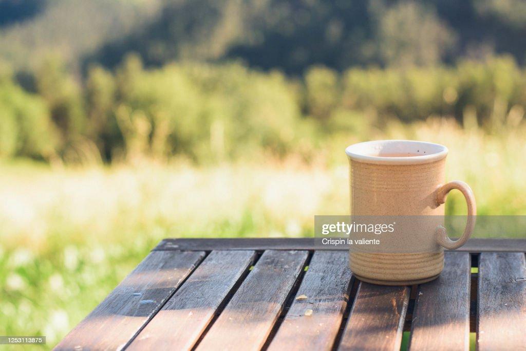 Taza de café o te  sobre mesa de madera en el jardín : Stock Photo