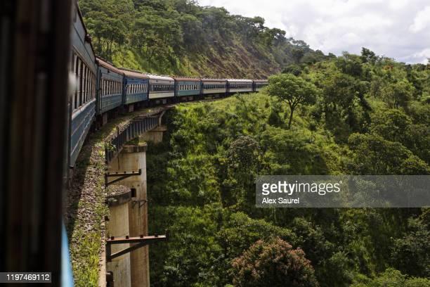 tazara train climbing the great rift valley escarpment, zambia - ザンビア ストックフォトと画像