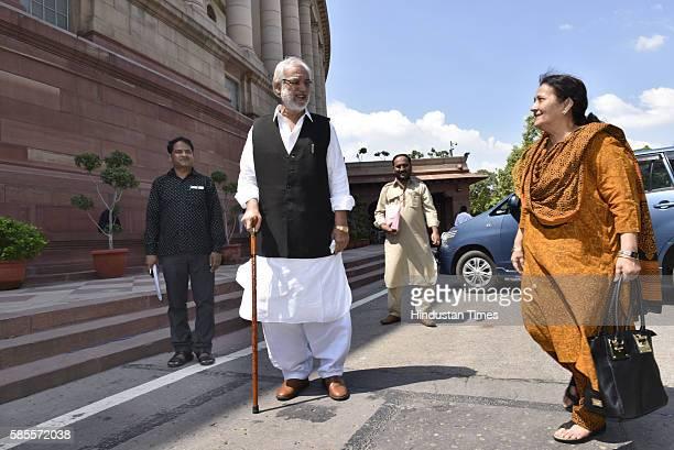 Tazeen Fatima Rajya Sabha MP and wife of Samajwadi Party leader Azam Khan with Munawar Saleem Rajya Sabha MP at Parliament House on August 3 2016 in...