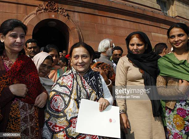 Tazeen Fatima wife of Uttar Pradesh Minority Affairs Minister Azam Khan with family members after taking oath as Rajya Sabha MP at Parliament house...
