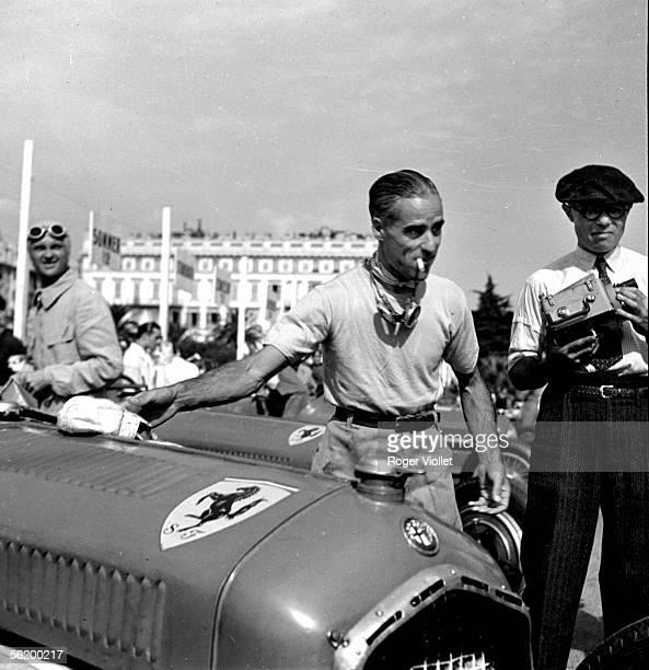 Tazio Nuvolari Italian racing driver and his Alfa Romeo Nice 1935