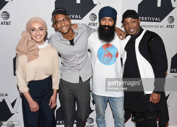 Tazzy Phe Sam Saffold LFRESH the Lion and Todrick Hall attend the Tribeca TV Festival premiere of YouTube Creators for Change at Cinepolis Chelsea on...