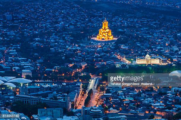Tbilisi City at Twilight Time.