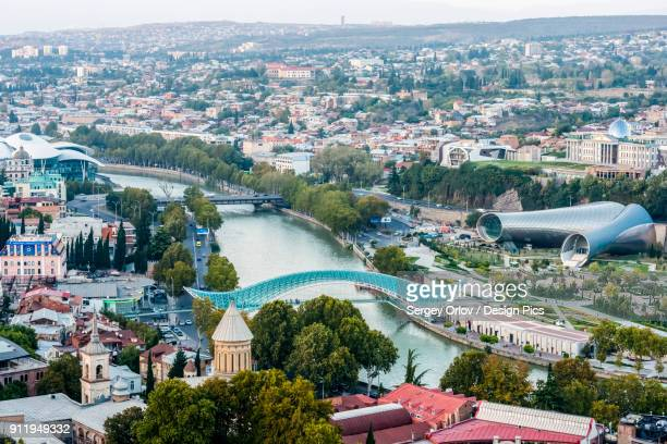 Tbilisi, The Capital And The Largest City Of Georgia, With Bridge Of Peace, Tubular Concert Hall Building And Mushroom-Like Justice House
