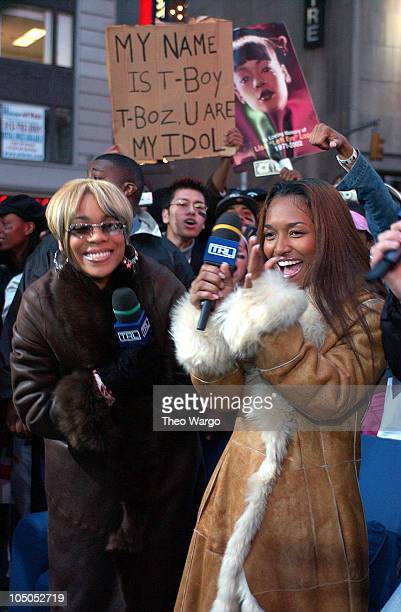 TBoz and Chilli of TLC during Spankin' New Music Week on MTV's TRL November 6 2002 at MTV Studios Times Square in New York New York United States