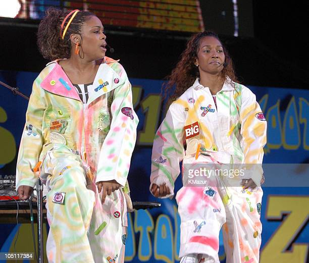 """Boz and Chilli of TLC in their last concert as a group, following the death of member Lisa """"Left Eye"""" Lopes last year."""