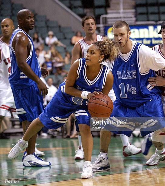 TBoz and Justin Timberlake during *NSYNC's Challenge for the Children V Game at Office Depot Center in Fort Lauderdale Florida United States