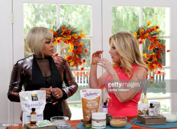 TBoz and Kym Douglas talk on the set of Hallmark's 'Home and Family' at Universal Studios Hollywood on September 25 2017 in Universal City California