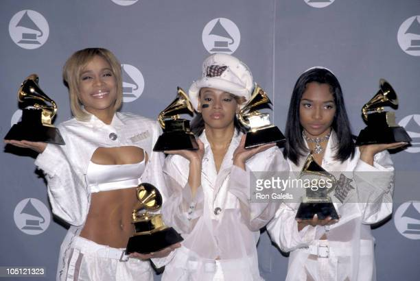 TBoz Lisa Left Eye Lopes and Chilli of TLC during The 38th Annual GRAMMY Awards Press Room at Shrine Auditorium in Los Angeles California United...