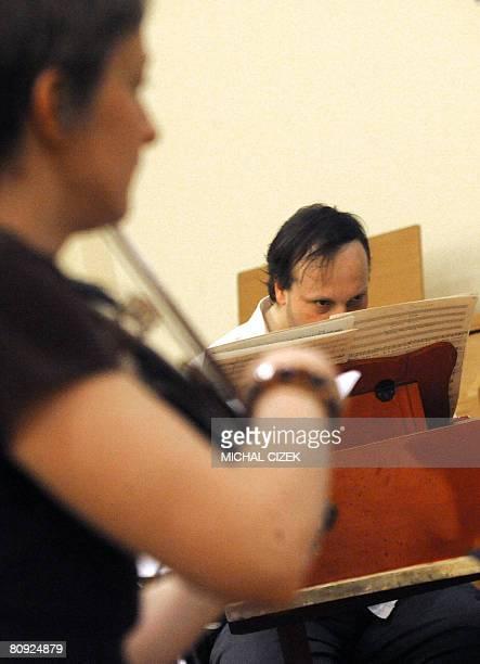 PONS TchquesItalieculturemusiqueVivaldi Czech conductor Ondrej Macek rehears Antonio Vivaldi's lost and found opera Argippo at the Unitaria Palace on...