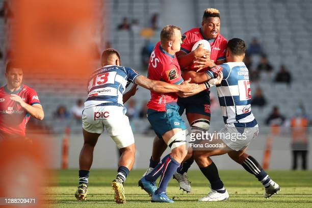 Te Ahiwaru Cirikidaveta of Tasman is tackled during the Mitre 10 Cup Final between Auckland and Tasman at Eden Park on November 28, 2020 in Auckland,...