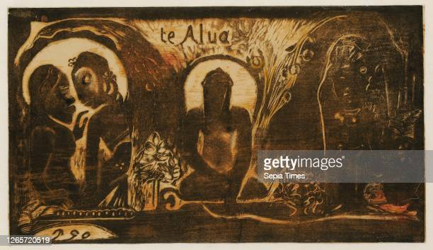 Te Atua, 1893/94, woodcut in colors, 2nd condition , photo: 20.4 x 35.8 cm, inscribed in print or in the middle: te Alua [sic], U.L., monogrammed:...