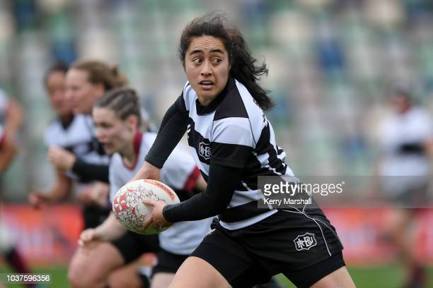 Te Maari MacGregor of Hawke's Bay in action during the round four Farah Palmer Cup match between Hawke's Bay and North Harbour at McLean Park on...