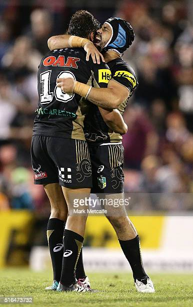 Te Maire Martin and Jamie Soward of the Panthers celebrate victory in the round three NRL match between the Penrith Panthers and the Brisbane Broncos...