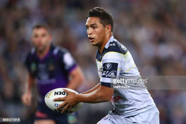 Te Maire Martin of the Cowboys runs the ball during the 2017 NRL Grand Final match between the Melbourne Storm and the North Queensland Cowboys at...
