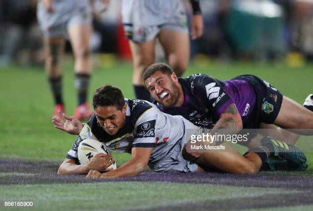 Te Maire Martin of the Cowboys scores a try during the 2017 NRL Grand Final match between the Melbourne Storm and the North Queensland Cowboys at ANZ...