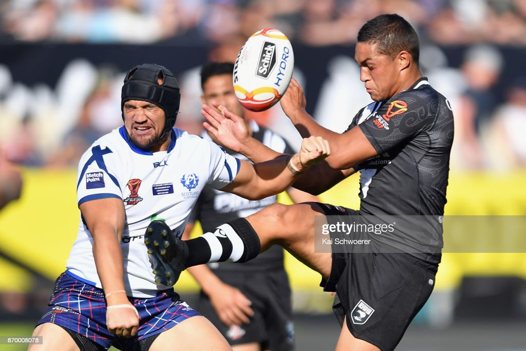 Te Maire Martin of the Kiwis kicks the ball during the 2017 Rugby League World Cup match between the New Zealand Kiwis and Scotland at AMI Stadium on November 4, 2017 in Christchurch, New Zealand.