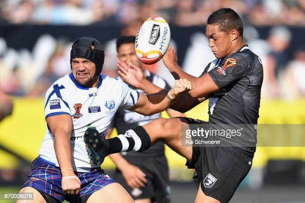 Te Maire Martin of the Kiwis kicks the ball during the 2017 Rugby League World Cup match between the New Zealand Kiwis and Scotland at AMI Stadium on...