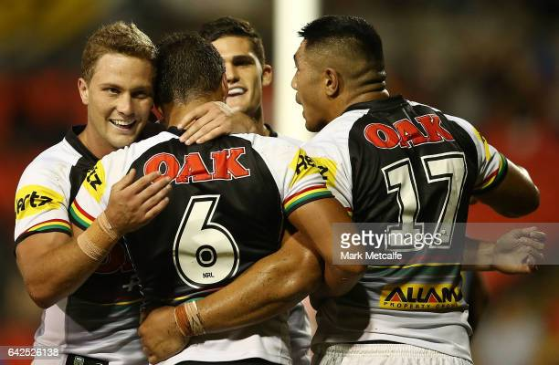 Te Maire Martin of the Panthers celebrates scoring a try with team mates during the NRL Trial match between the Penrith Panthers and Parramatta Eels...