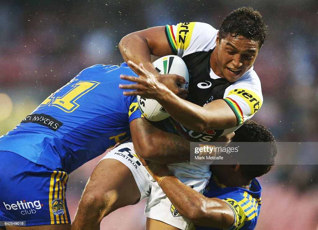 Te Maire Martin of the Panthers is tackled during the NRL Trial match between the Penrith Panthers and Parramatta Eels at Pepper Stadium on February 18, 2017 in Sydney, Australia.