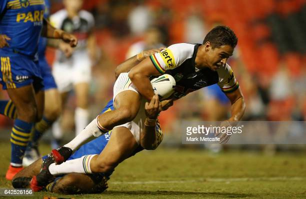 Te Maire Martin of the Panthers scores a try during the NRL Trial match between the Penrith Panthers and Parramatta Eels at Pepper Stadium on...