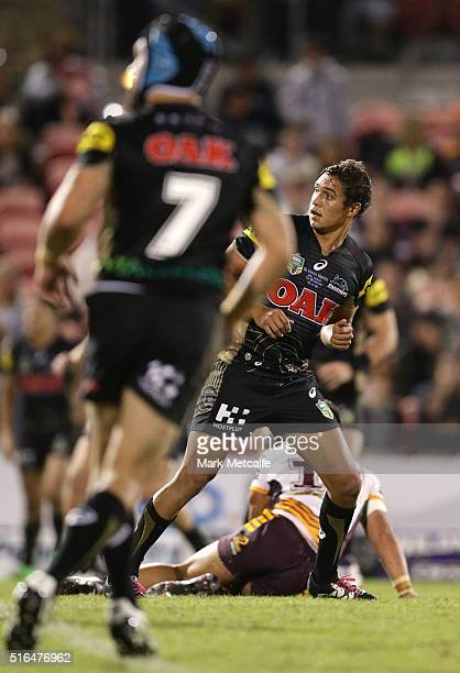 Te Maire Martin of the Panthers watches his field goal attempt during the round three NRL match between the Penrith Panthers and the Brisbane Broncos...