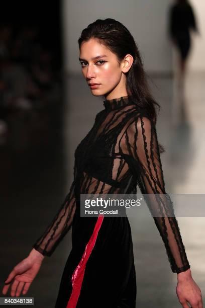 Te Manahou MacKay New Zealand's first transgender model showcases designs by Pania Greenaway in the New Generation on the runway at New Zealand...