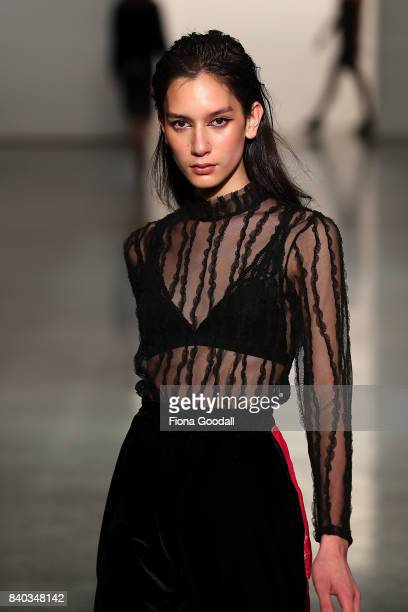Te Manahou MacKay, New Zealand's first transgender model showcases designs by Pania Greenaway in the New Generation on the runway at New Zealand...