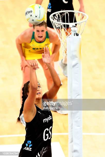 Te Paea SelbyRickit of the Silver Ferns shoots during the Quad Series International Test match between the Australian Diamonds and the New Zealand...
