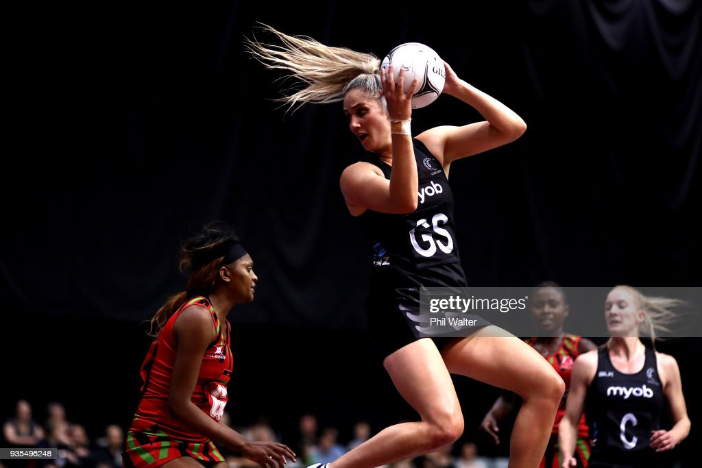 Te Paea Selby-Rickit of the Silver Ferns takes a pass during the Taini Jamison Trophy match between the New Zealand Silver Ferns and the Malawai Queens at North Shore Events Centre on March 21, 2018 in Auckland, New Zealand.
