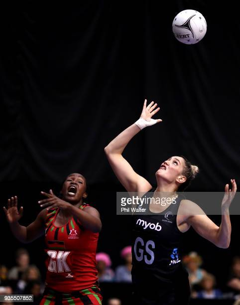 Te Paea SelbyRickit of the Silver Ferns takes a pass during the Taini Jamison Trophy match between the New Zealand Silver Ferns and the Malawai...