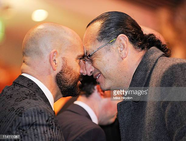 Te Papa staff members Neil Anderson and Derek Lardelli perform a hongi after Maori heads are delivered to Te Papa Museum on May 12 2011 in Wellington...