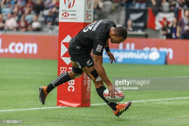 Te Puoho Stephens of New Zealand scores during Game Argentina 7s vs New Zealand 7s in 5th Place SF1 matchup at the Canada Sevens held on March 10 at...