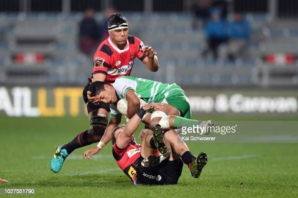 Te Rangatira Waitokia of Manawatu is tackled during the round four Mitre 10 Cup match between Canterbury and Manawatu at AMI Stadium on September 6...