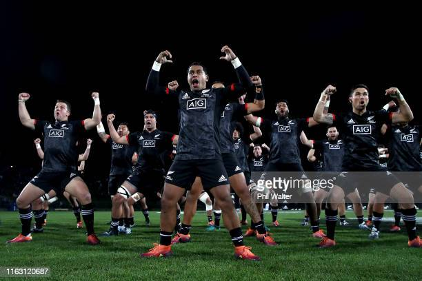 Te Toiroa Tahuriorangi of NZ Maori leads the haka during the second test match between the Maori All Blacks and Fiji at Rotorua International Stadium...