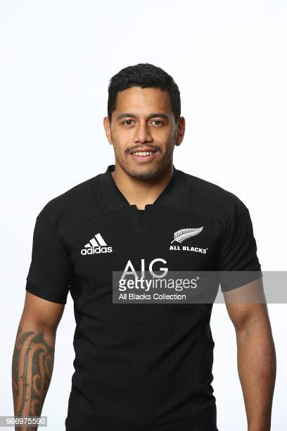 Te Toiroa Tahuriorangi poses during a New Zealand All Blacks headshots session on June 3 2018 in Auckland New Zealand