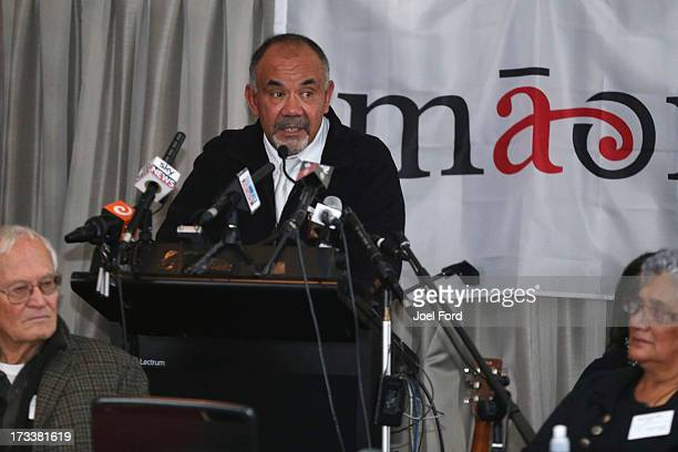 Te Ururoa Flavell makes a speach after accepting the coleadership of the Maori Party during the Maori Party Annual General Meeting on July 13 2013 in...