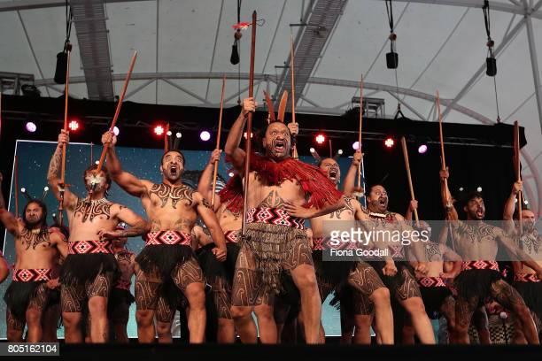 Te Waka Huia of Auckland perfom during Te Taumata Kapa Haka at The Cloud on July 1 2017 in Auckland New Zealand The Matariki Festival is an annual...