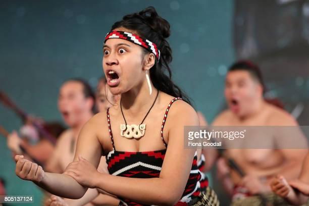 Te Wharekura o Hoani Waititi perform during Te Taumata Kapa Haka at The Cloud on July 1 2017 in Auckland New Zealand The Matariki Festival is an...