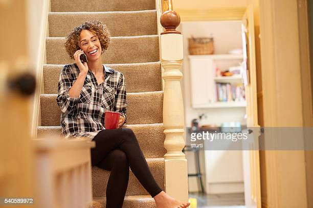 tea and a natter - landline phone stock pictures, royalty-free photos & images