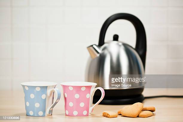 Tea and biscuits with kettle