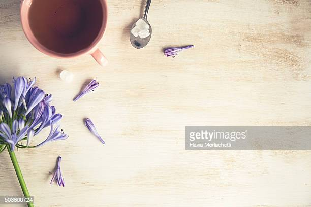 Tea and flowers background