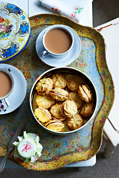 tea and home made biscuits on tray