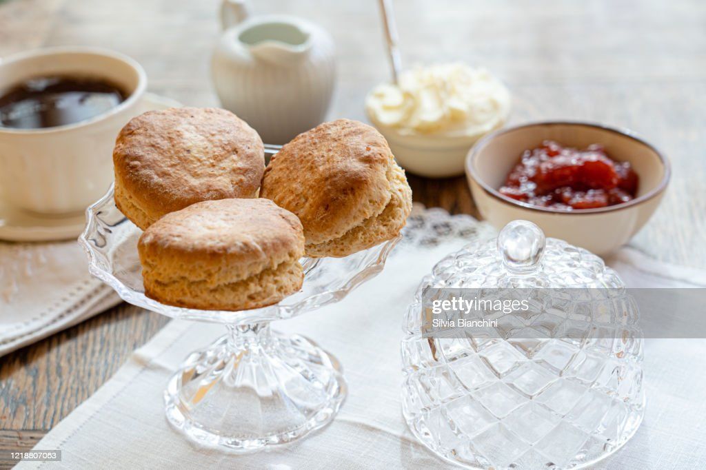 Tea And Scones With Strawberry Jam And Clotted Cream High Res Stock Photo Getty Images